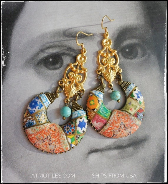 Earrings Chandelier Persian Tile Portugal Azulejo Bohemian Persian Boho Tribal Gypsy Gypsy Ethnic Surgical Steel Featured in Marie Claire