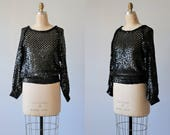 Haut chemisier à manches longues Vintage Sequin noir / 80 s Glam Rock / poisson Net Top Sequin