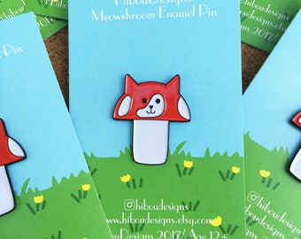 Meowshroom enamel pin, mushroom cat pin , cat pin, mushroom pin, mushroom kitty pin, soft enamel pin, lapel pin badge, pin, HibouDesigns