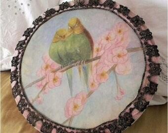 Adorable Vintage Jewelry Box Velvet Flapper Lingerie Silk Metallic Lace Boudoir Birds