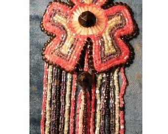 Antique Beaded Tassel Applique Flapper 1920s
