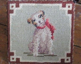Vintage Dog Needlepoint Terrier Door Stop Folk Art 1930s