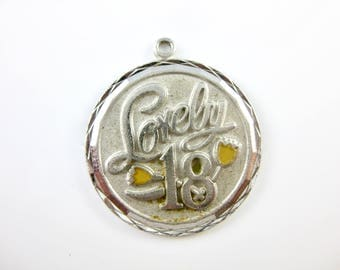 Vintage Sterling Silver Lovely 18 Silver Charm with Yellow Enamel