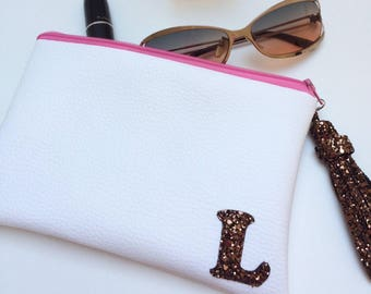 Custom Made Metallic Vegan Leather Personalised Initia Monogrammed clutch Bag