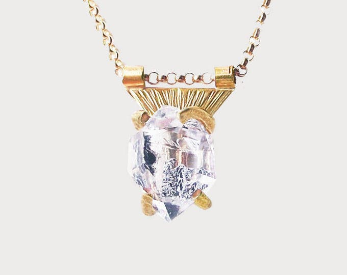14K Yellow Gold Herkimer Diamond Crystal Necklace_ Triangle of Mars necklace_ Limited Edition