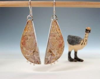 Fossil Fern Earrings, Petrified Wood, Dangle Earrings, Sterling Silver, 14kt Gold