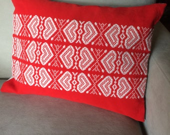 Red And White Hearts Throw Pillow, Upcycled Cotton