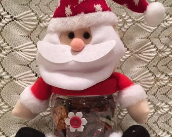 Santa Container with Chocolate Covered Pretzels, Christmas Chocolate Covered Pretzels