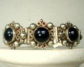 BRACELET, Ornate Sterling LOOK Links  with Black Glass Centers,  Style of  European Silver & Onyx 1960s