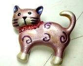 Lavender Enamel Kitty Cat Pin w Pink Rhinestone Collar,