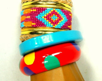 Lot of 3 Vintage Colorful Bracelets, Southwestern Cowgirl Cuff, Polka Dot Painted Wood Bangle, Triangle Turquoise Resin Bangle, 1990s