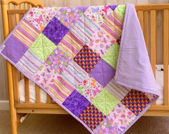 Handmade Baby Quilt - Baby Girl Quilt - Baby Quilt - Butterfly Quilt - Pink Baby Blanket - Pink Baby Bedding -Floral Crib Bedding-Crib Quilt