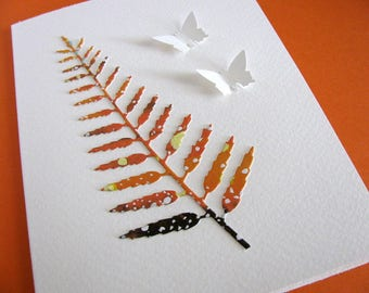 Large Watercoloured Fern on Creamy Ivory Card with 2 Small Butterflies in Your Choice of 2 Options. Rust, Orange. A2 Size. Ready to Ship