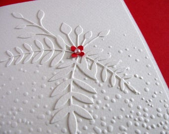 3D Ivory Floral on Embossed Creamy Ivory Card with Tiny Accent Flower in Red or YOUR Color Choice with Pearl Adornment