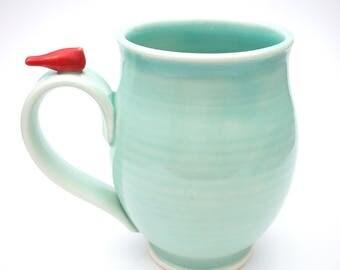 Handmade Porcelain Mug With a Little Red Bird