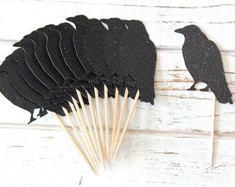 Halloween decorations, Black Crow Cupcake Toppers - Set of 12 - Halloween