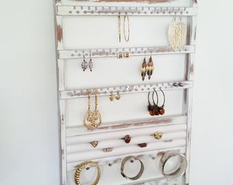Jewelry Holder, Ring Holder, Wall Mount, Earring Holder, Necklace Jewelry Organizer, Jewelry Rack, Bangle Bracelet White Shabby Chic