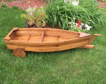 Finished Nautical all cedar boat and trailer (painted and/or stained and sealed) outdoor landscape garden box planter lawn or yard ornament