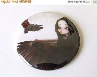 """50% Off SALE Pocket Mirror """"The Crow"""" 2 1/4"""" Round Mirror Print of Original Artwork - Dark Haired Girl with Black Bird Raven"""