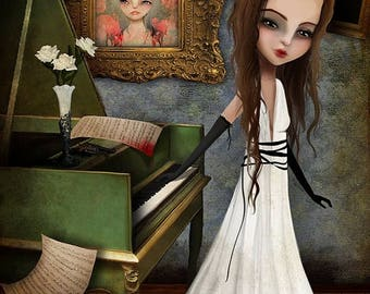 50% Off SALE Fine art print - 'Elizabeth Killbride' - 8x10, 8.5x11 medium to large girl print - Creepy Cute Lowbrow Artwork - Pianist - Pian