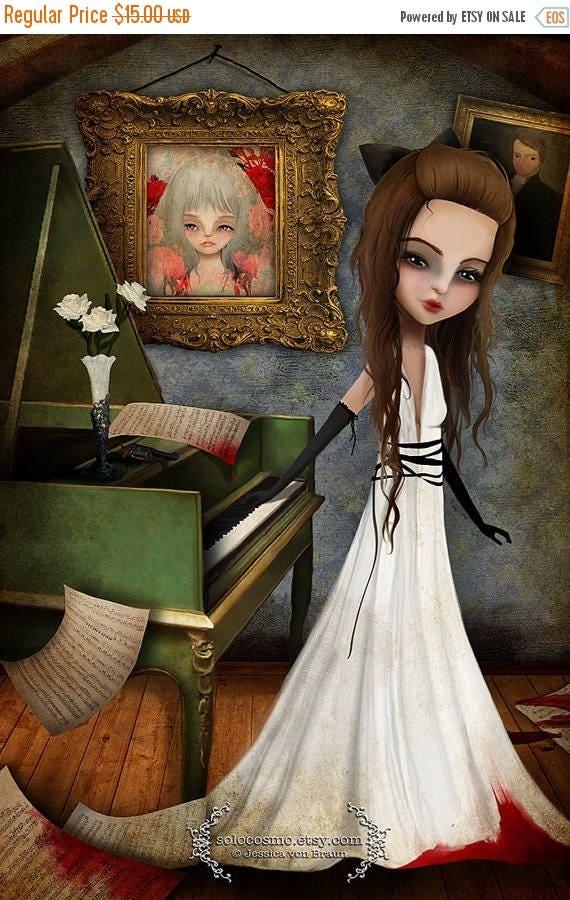 50% Off SALE Fine art print - 'Elizabeth Killbride' - 8x10, 8.5x11 medium to large girl print - Creepy Cute Lowbrow Artwork - Pianist - Pian