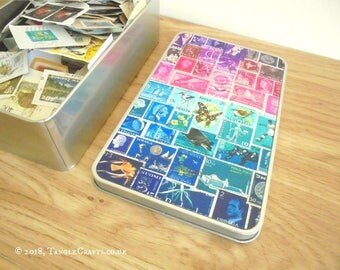 Midnight Sea Tin Full of Postage Stamps on Paper - Collage Starter Set