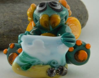 DRAGON, Beach, Painting, Whimiscal,  Glass Sculpture Collectible, Focal Bead, Izzybeads SRA