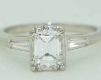 Art Deco Platinum 89Pt Emerald Cut Diamond Ring
