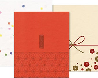 Japanese paper gift bags - confetti, only heart-red and flowers