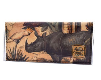 Bi-fold Clutch - Rhinoceros - contemporary fabric