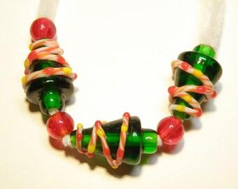 Three Lampwork Christmas Tree Beads with Peppermint Stripe Garland---LOT UU