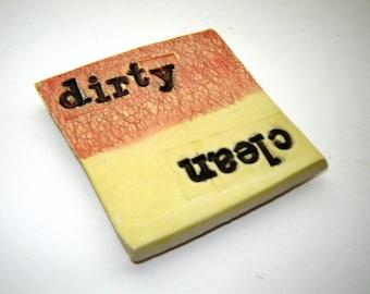 Dirty Clean dishwasher magnet – yellow and orange – housewarming gift – kitchen décor – handmade ceramics –