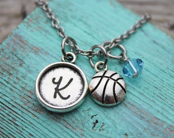 Personalized Basketball Initial Charm Necklace