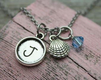 Personalized Shell Initial Charm Necklace