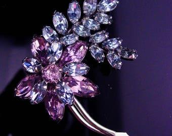 Sherman Alexandrite brooch / Signed purple pin / vintage costume jewelry / floral lapel pin / flower jewelry / estate jewelry