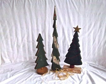 Vintage Wooden Christmas Tree Set Vintage Painted Wooden Tree Trio Home and Living Home For The Holidays Christmas Country Mantel Decor