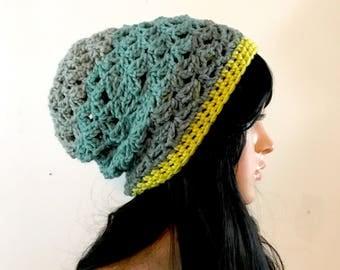 All Season Shelly Slouchy Beanie -  Acrylic Wool Blend yarn - lime green, gray, slate gray, teal - boho hipster indie