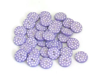 Lilac Polka Dot Buttons, Sewing Buttons, Craft Buttons, Lilac and White Polka Dot Buttons, Halloween Buttons