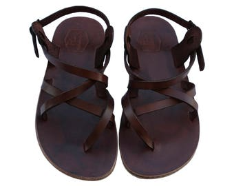 CLEARANCE SALE - Dark Brown Triple Leather Sandals - All Leather Sole  - Euro # 39 - Handmade Unisex Sandals, Genuine Leather, Sale