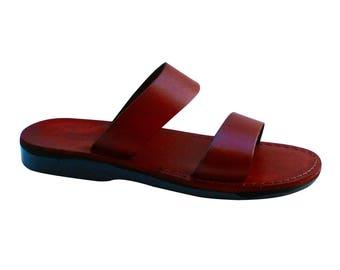 Brown Bio Leather Sandals For Men & Women - Handmade Sandals, Leather Flip Flops, Jesus Sandals, Unisex Sandals, Brown Sandals