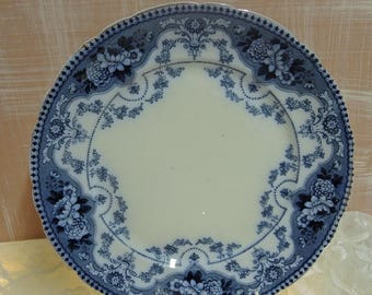 Antique Large Flow Blue Cabinet Plate, Blue And White Cake Plate, 10 1/2 Inches