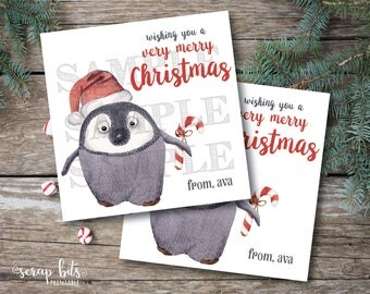 Personalized Printable Christmas Tags, Printable Penguin Christmas Labels,  Watercolor Penguin Tags, Very Merry Christmas Labels