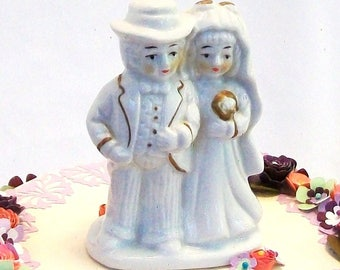 Vintage Wedding Cake Topper All White Gloss Ceramic Gold Metallic Trim Traditional Modest Dress Long Sleeve Bride and Groom