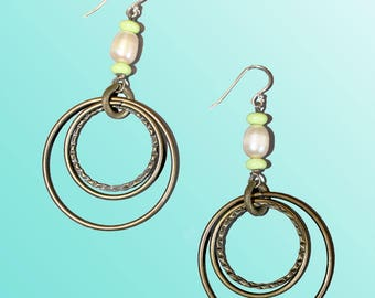 Boho Pearl and chalk turquoise Earrings. Brass earrings. Geometric earrings. Circle earrings. Pearl earrings. Pink and green earrings. Boho