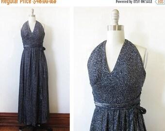 20% OFF SALE metallic maxi dress, vintage 70s disco dress, navy lurex halter dress, xxsmall dress