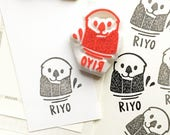 custom name stamp   personalized sea otter rubber stamp   diy birthday   craft gift for kids   hand carved stamp by talktothesun