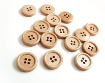 Wooden button - Natural 4 Holes Wood Sewing Buttons 15mm - set of 15  (BB102)