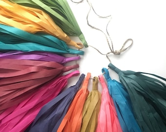 JEWEL TONES paper tassel garland / fall autumn wedding aisle marker decorations / neutral nursery decor / photo booth prop / pantone inspire