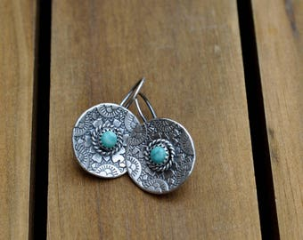 Sterling Silver Turquoise Earrings, Sterling Silver Disc Earrings, Hand Stamped Dangly Earrings