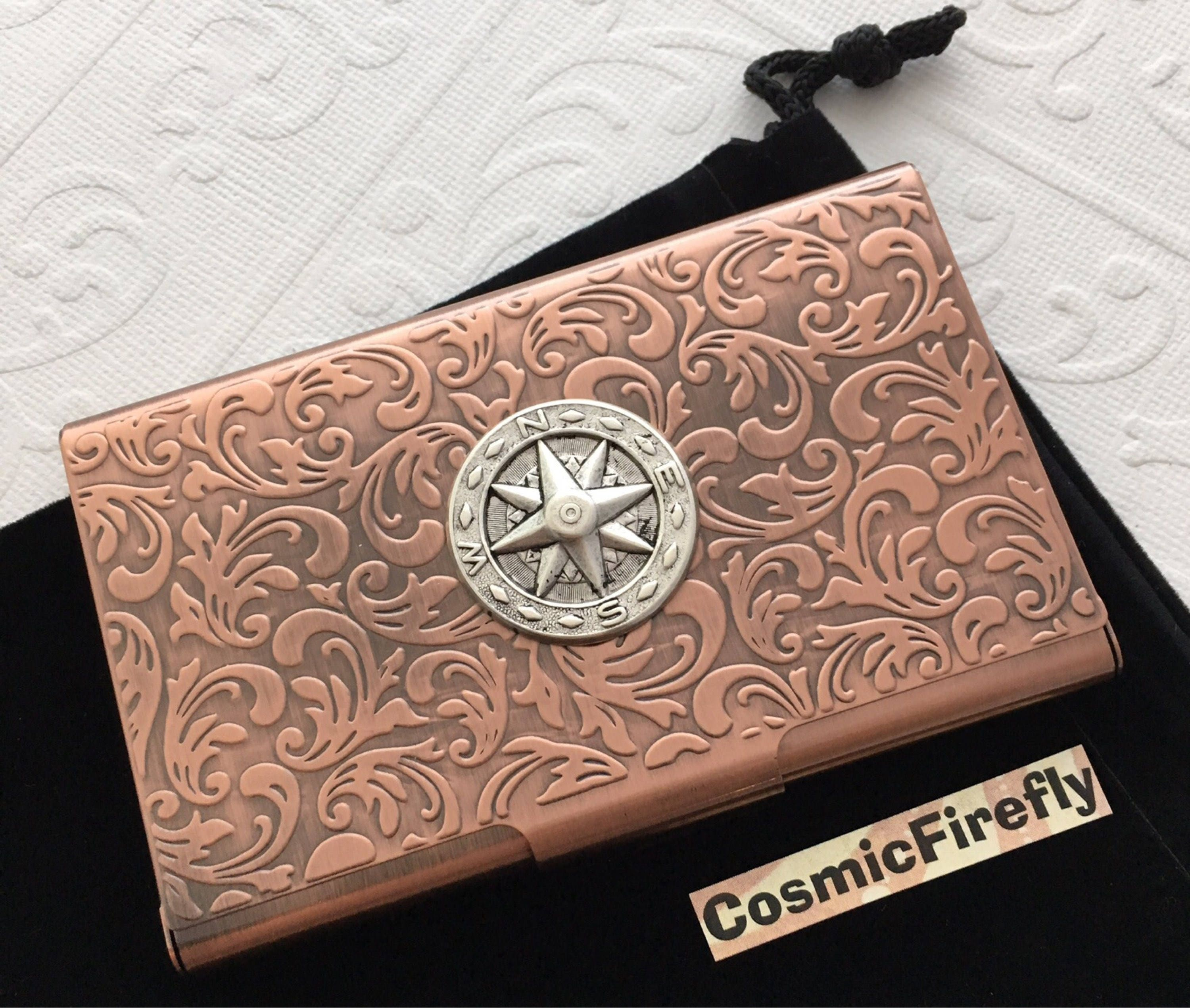 Copper Business Card Case Nautical Compass Card Case Card Holder ...
